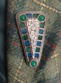 Celtic Shield Brooch signed Miracle - triangular shaped vintage brooch